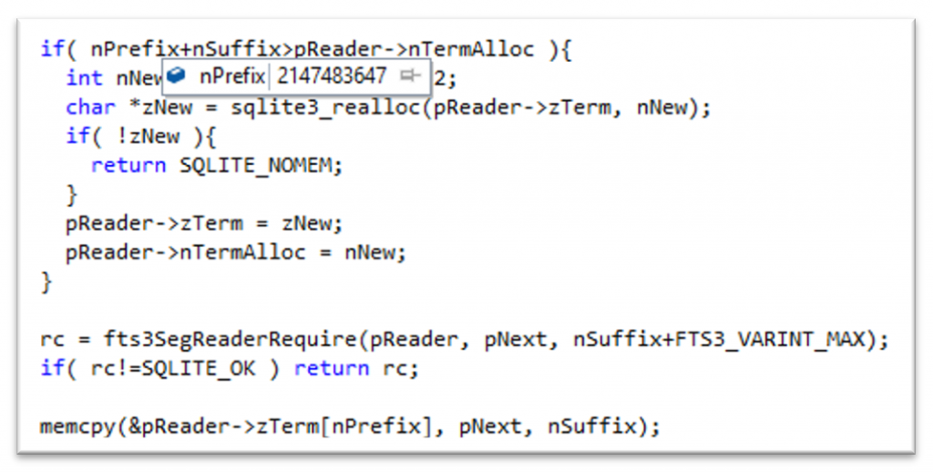 vulnerable SQLite code in the stack frame above the memcpy() crash