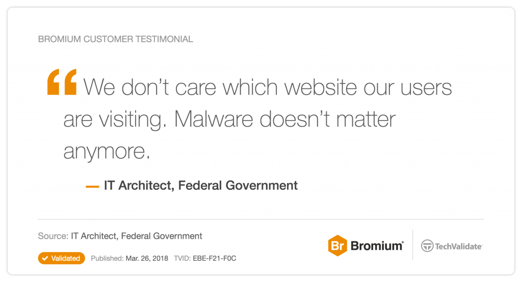 We don't care which website our users are visiting. Malware doesn't matter anymore.