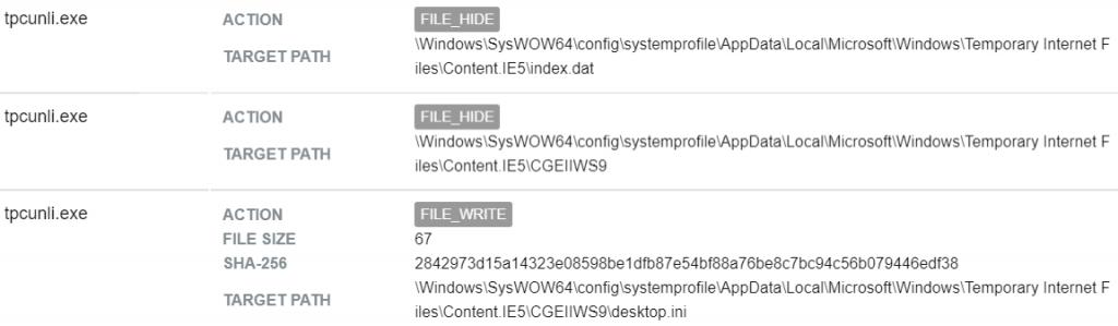 "Figure 15– ""tpcunli.exe"" hides internet history"