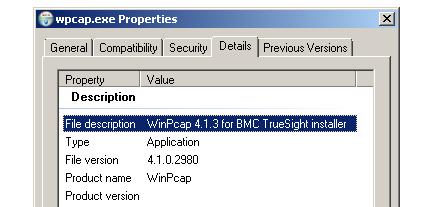 Figure 18– WinPcap.exe file properties reveals that it was taken from the BMCTrueSightInstaller