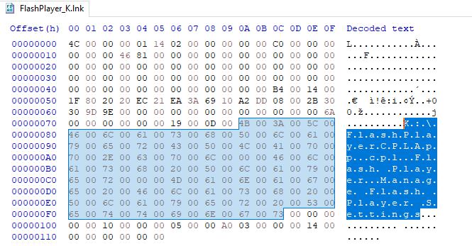 Figure 30 – Content of .lnkfileFlashPlayer_K.lnk
