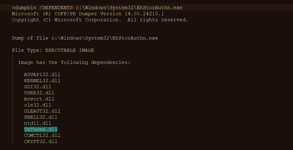 Figure 11– Dumpbin output shows the dependency ofEhStorAuthn.exe on UxTheme.dll.